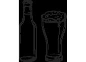 bottiglia e bicchiere di birra